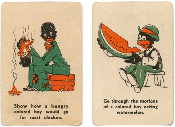 "Two cards from the 1930s game 72 Pictured Party Stunts. (From ""Understanding Jim Crow"")"