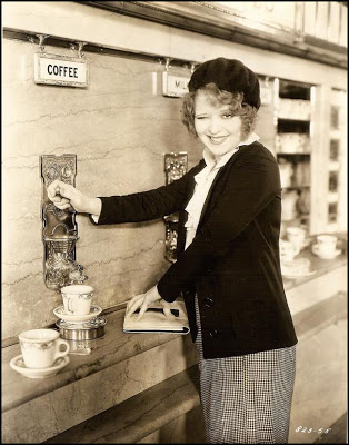 "Actress Clara Bow fills her cup at a Horn & Hardart in a promotional still for the 1931 film ""No Limit."""