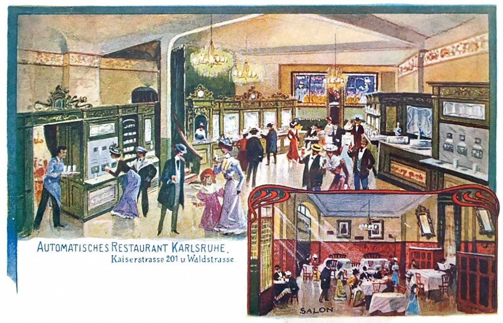 "A 1903 postcard depicting an ""automatic restaurant"" in Karlsruhe, Germany. Image courtesy Restaurant-ing Through History."