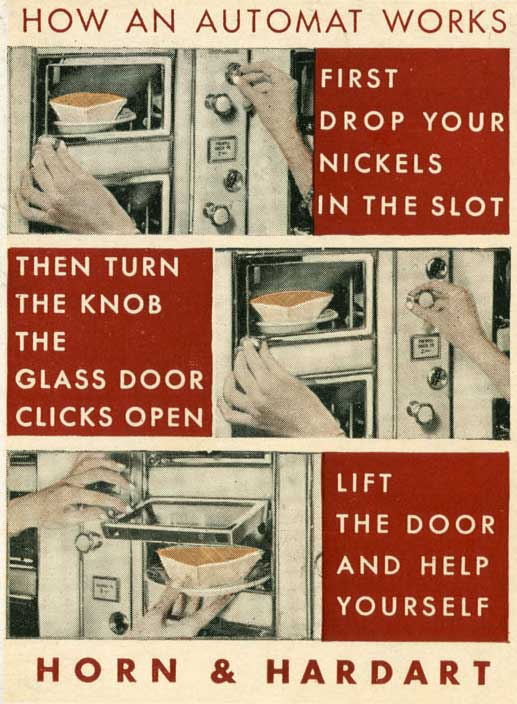 A postcard guide to the automat, circa 1930s.