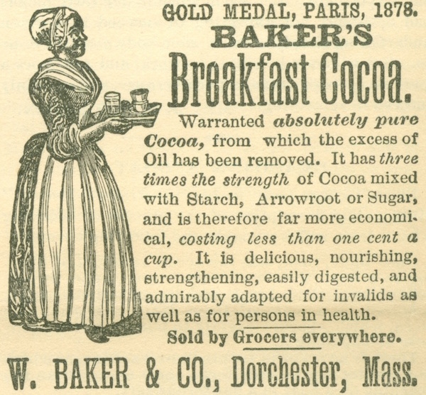 Top: Sarah and Gabriel Chrisman love to go cycling. He rides a high-wheel bicycle, while she often accompanies him on a Victorian women's tricycle. (Photo courtesy of Don Willott) Above: In this Baker's Breakfast Cocoa ad from the Chrismans' collection, a servant wears a corset while she works. (Images from ThisVictorianLife.com)