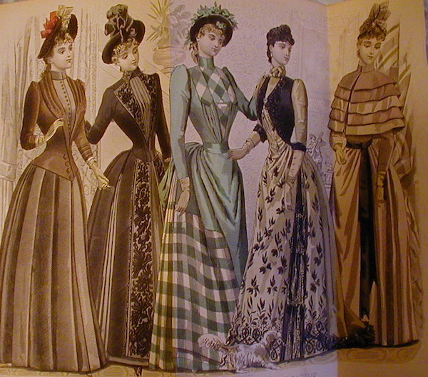 "An image from an 1880s fashion magazine, part of the Chrismans' collection, shows the women wearing ""visiting dresses."" (From ThisVictorianLife.com)"