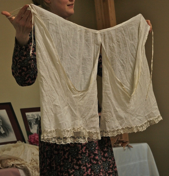 "Sarah explains, ""My favorite pantelets are shown here: dating from the 1870s, they are made of cotton lawn (a filmy, light-weight material that feels a bit like wearing a cloud), and decorated with hand-made lace."" (From This VictorianLife.com)"
