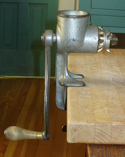 "In the kitchen, Sarah uses this 1905 Rex Meat Chopper, which was advertised in 1893 as the ""King of Mincers."" (From ThisVictorianLife.com)"