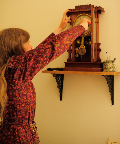 Every morning, Sarah winds the Chrismans' mechanical clock. (Photo courtesy Estar Hyo-Gyung Choi, Mary Studio, via ThisVictorianLife.com)