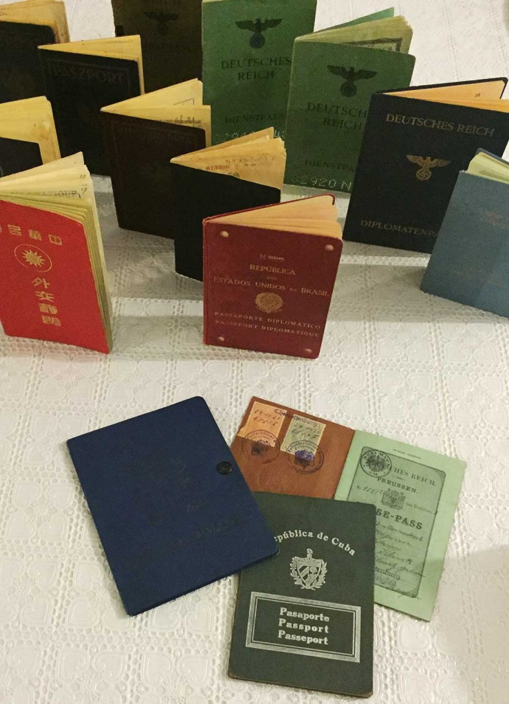 A few of the historic passports from Kaplan's personal collection.