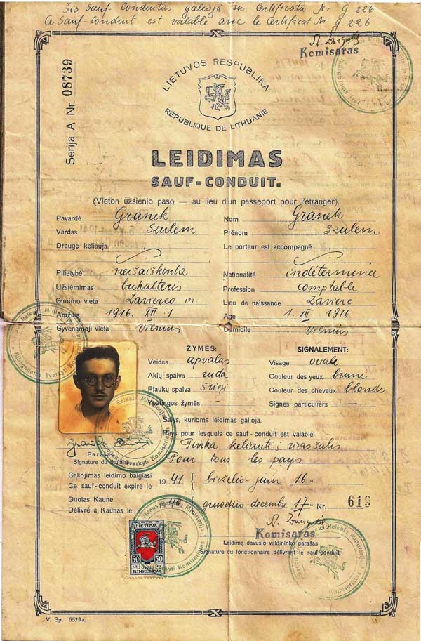 "In 1940, Jewish refugee Szulem Granek was issued this Lithuanian <a href=""http://www.collectorsweekly.com/stories/170950"">travel document</a>, which he used to travel to British Palestine."