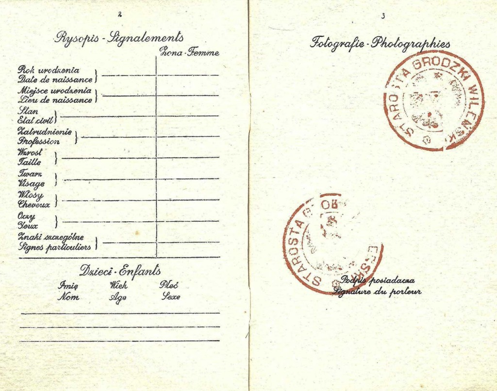 "The inside of Kaplan's <a href=""http://ourpassports.com/forged-passport-for-escape/"">forged Polish passport</a> was already marked with official stamps, waiting for an escapee to add their details and photograph. (Click to enlarge)"
