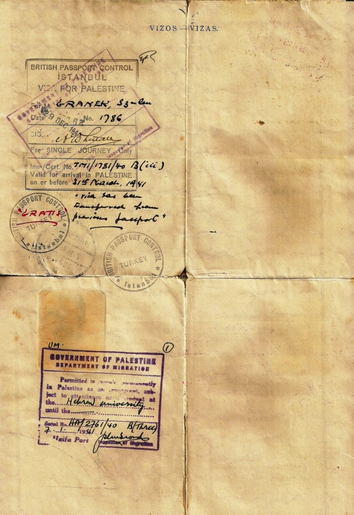 "<a href=""http://www.collectorsweekly.com/stories/170950"">Life-saving visas</a> issued by Arthur Whitall to a Jewish refugee, Szulem Granek, allowing him to leave Turkey for British Palestine in 1940. (Click to enlarge)"