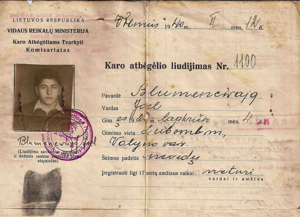 Part of a rare War Refugee Certificate issued to Joel Blumencwajg in Lithuania in 1940. (Click to enlarge)