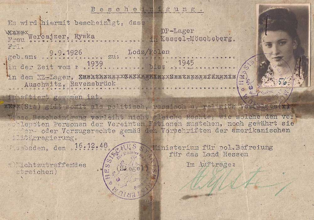 This form certified that Rywka Wercajzer, who worked with Habricha organizations, had been liberated from Auschwitz. Polish Jews used similar forged documents to remain in Germany and receive assistance from the Allies, rather than returning to persecution in Poland. (Click to enlarge)