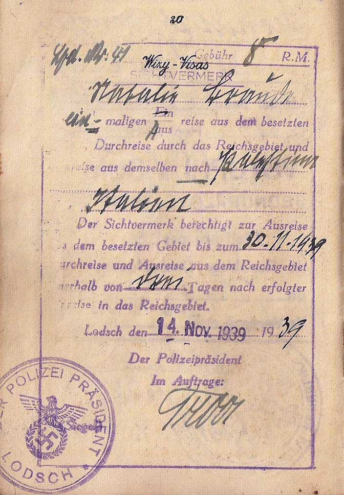 "A rare exit visa from Łódź, Poland (or Lodsch in German), in a Jewish woman's <a href=""http://ourpassports.com/1940-life-saving-italian-visa/"">passport</a> that was extended by the German occupying forces even as Jews were being forced into the city's famous ghetto. (Click to enlarge)"
