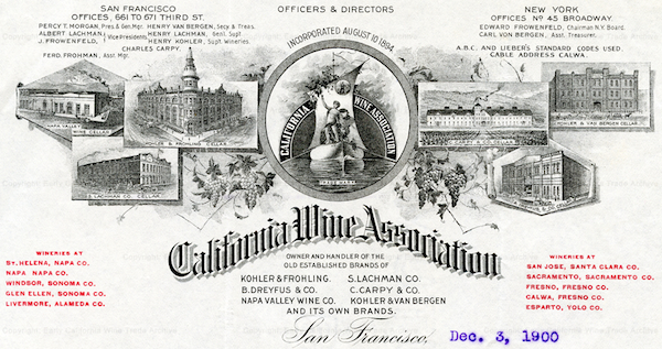 "The C.W.A.'s letterhead from 1900, showing its warehouses in San Francisco and listing its wineries. (Courtesy <a href=""http://earlycalwinetrade.org/"" target=""_blank"">Early California Wine Trade Archive)"