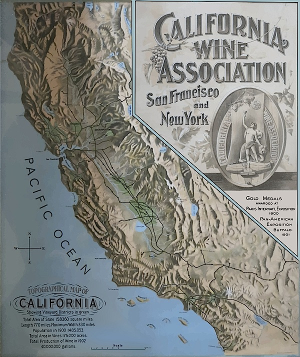 Top: In the late 1890s, the California Wine Association sold some of its member's wine under the Big Tree brand. (Courtesy Early California Wine Trade Archive) Above: A 1902 map touts the C.W.A. awards and reach. (Courtesy Gail Unzelman)