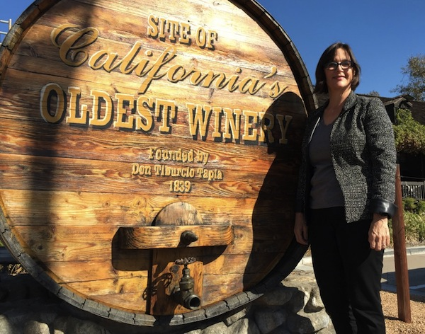 Author Frances Dinkelspiel in Rancho Cucamonga, near the winery that was once owned by her great-great-grandfather Isaias Hellman. (Via francesdinkelspiel.com)