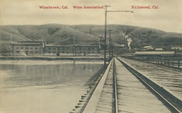 Railroad tracks on the deep-water pier at Winehaven made it early to load or unload ships and barges that docked there. (Courtesy Gail Unzelman)