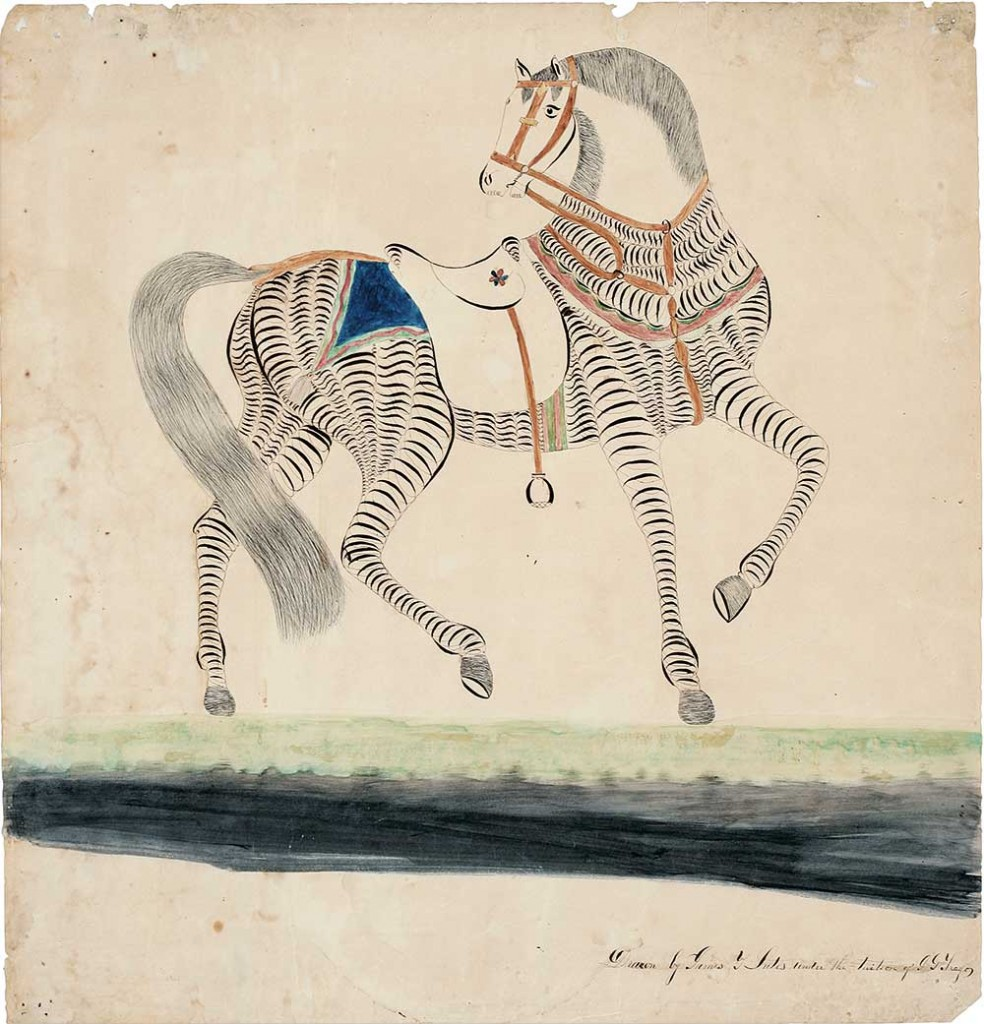 This Calligraphic Horse was drawn by a student to show penmanship, circa 1850. From the collection of the New-York Historical Society, photographed by Glenn Castellano.