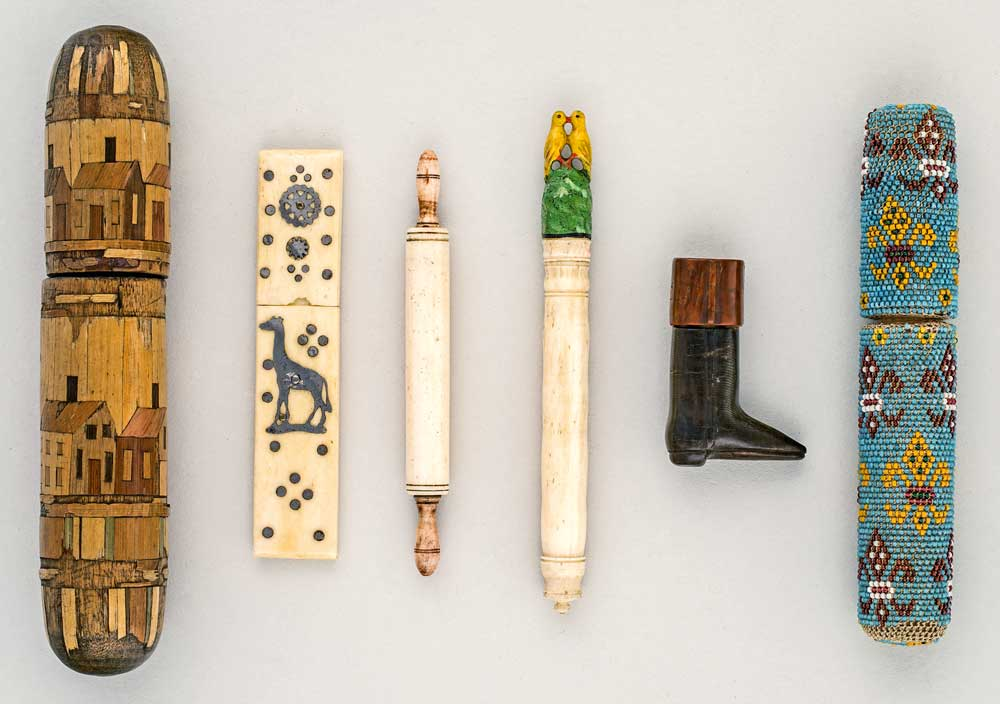 "Top: Elie Nadelman's sculpture ""Tango"" from the early 1920s was influenced by folk-art craftsmanship. Courtesy the Whitney Museum of American Art, from ""Making It Modern."" Above: Decorative needle cases from the 19th century. From the collection of the New-York Historical Society, photographed by Glenn Castellano."