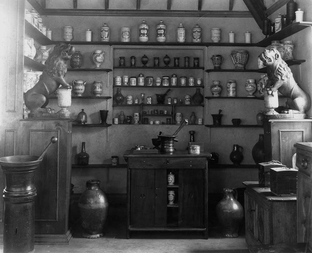 A view of the French apothecary installed at the MFPA in Gallery X, circa 1926-1935. From the Estate of Elie Nadelman.