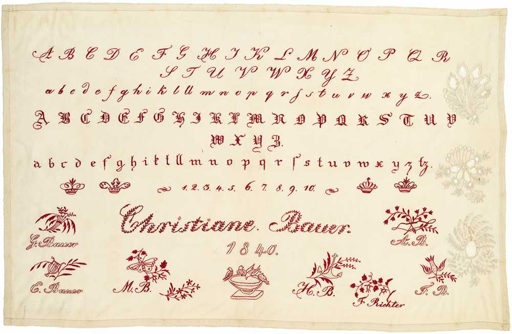 Viola Nadelman previously collected samplers, intended to teach embroidery, like this German example made by Christiane Bauer in 1840. From the collection of the New-York Historical Society, photographed by Glenn Castellano.