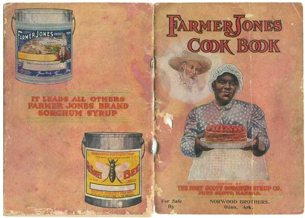 """Farmer Jones Cook Book"" states that Mary, the woman on the cover, worked for the family of Fort Scott Sorghum Syrup Company's manager. The 1914 promotional booklet features nearly 100 recipes using the cheap sugar substitute. (From ""The Jemima Code"")"