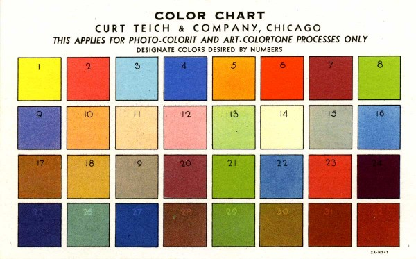 Teich sales agent G.I. Pitchford had this postcard-size color chart printed so that his clients could choose the colors they wanted on a card the company was about to print for them. Courtesy Robert I. Pitchford.