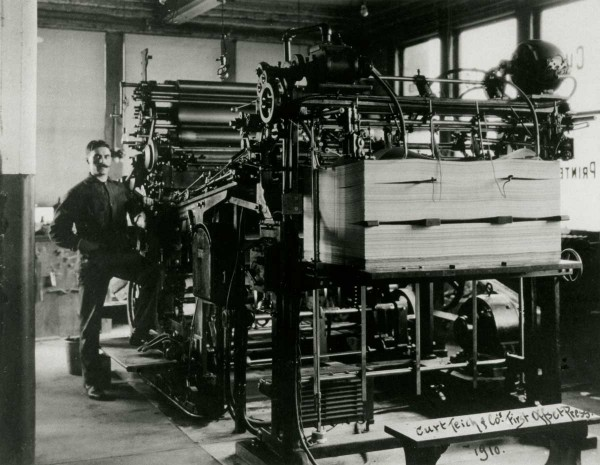 Teich's first offset press was made in 1910 by the Walter Scott Company. Courtesy Lake County (IL) Discovery Museum, Curt Teich Postcard Archives.
