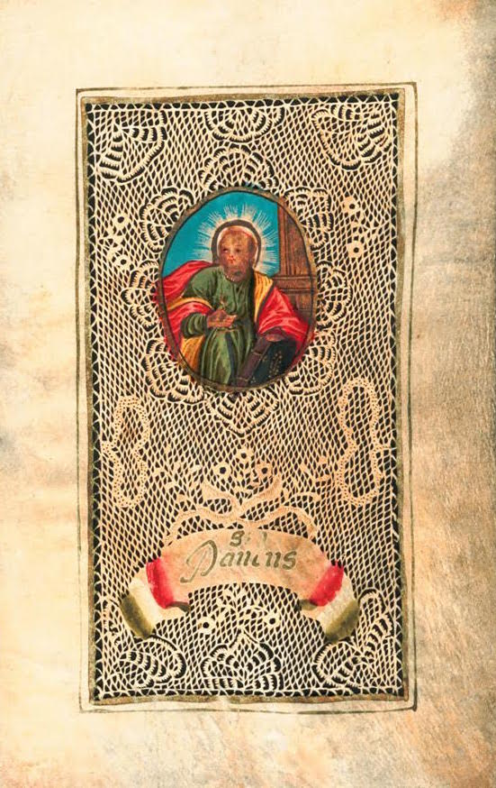 A hand-cut paper Devotional parchment with a gouache image of Saint Paul, circa 1700. (Courtesy of Nancy Rosin)