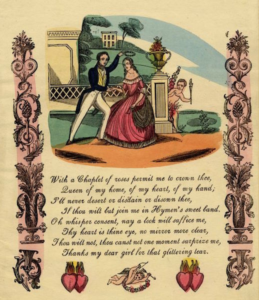"This Valentine,  a hand-colored wood engraving,  features a romantic poem and symbols of love, including the ""Sacred Hearts."" (From the John Johnson Collection at the Bodleian Library, University of Oxford)"