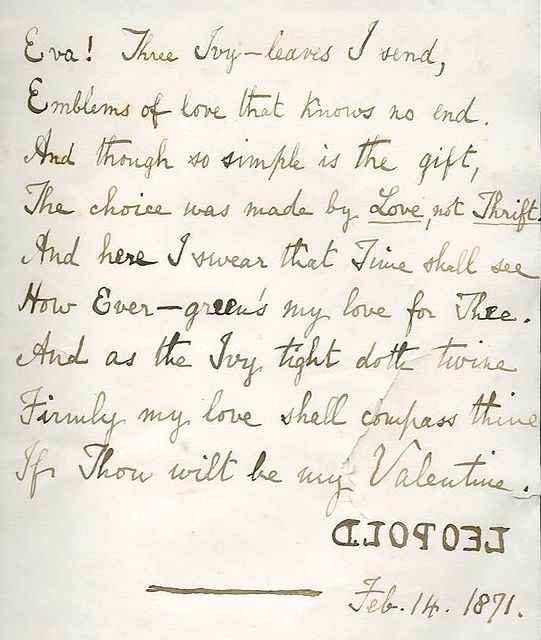 Leopold placed this poem to Eva and wooden jewelry inside a Valentine by Eugene Rimmel. Notice he signed his name backward. (From the collection of Michael Russo, vice president of the National Valentine Collectors Association)