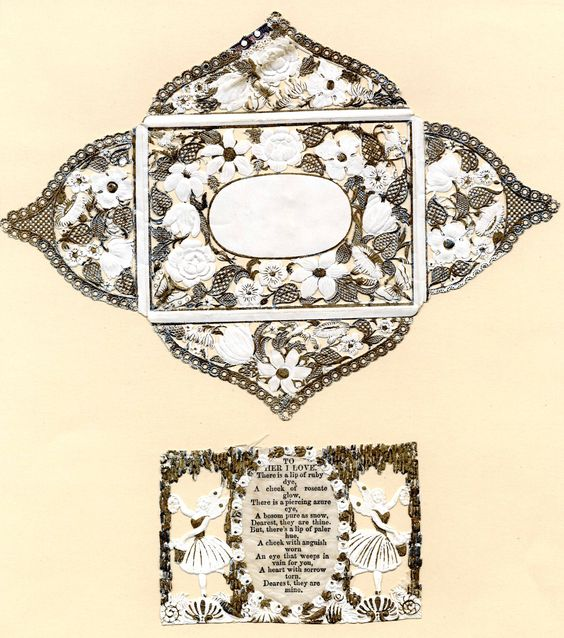 """Diamond"" envelopes  could be just as ornate as the Valentines they contained. (From the John Johnson Collection at the Bodleian Library, University of Oxford)"