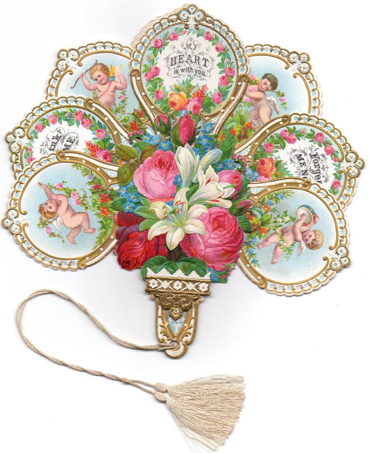 This 1860s scented Eugene Rimmel Valentine, lithographed with images of flowers and Cupid, folds out into a hand fan. A cord with tassels is attached to the bottom. (Courtesy of Nancy Rosin)