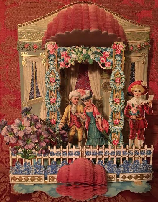 This German Valentine from the late 19th century features die-cut pop-ups and honeycomb tissue paper. (Courtesy of Nancy Rosin)