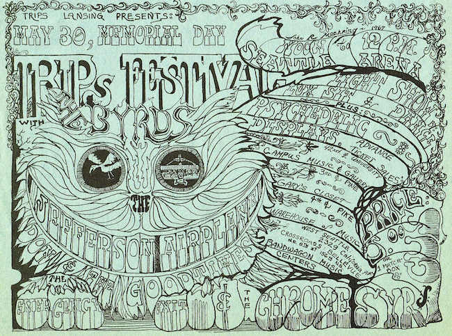 Moehring's poster for Seattle's second Trips Festival, also in 1967, invited patrons to pay for entry with a matchbox full of marijuana.