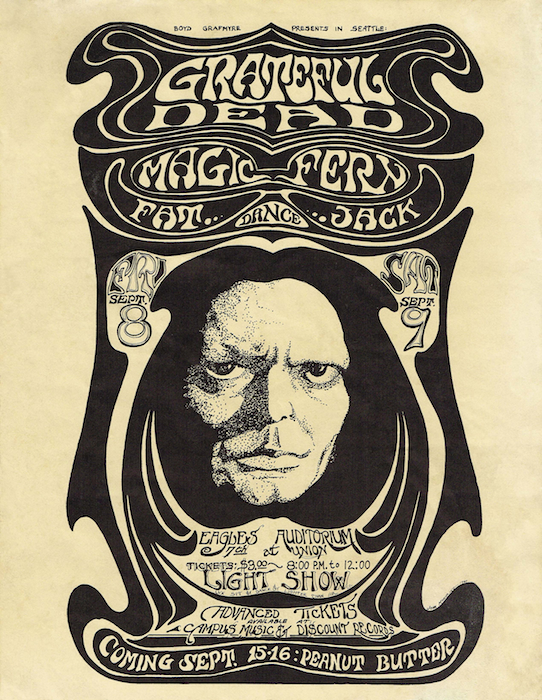 Moehring's first poster for Eagles promoter Boyd Grafmyre was for a pair of Grateful Dead concerts ion 1967. Moehring would eventually design more than 20 posters for Grafmyre.