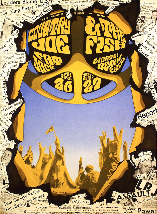 Moehring drew, used collage, and incorporated photography into this poster for a pair of Country Joe & the Fish concerts in April of 1968.