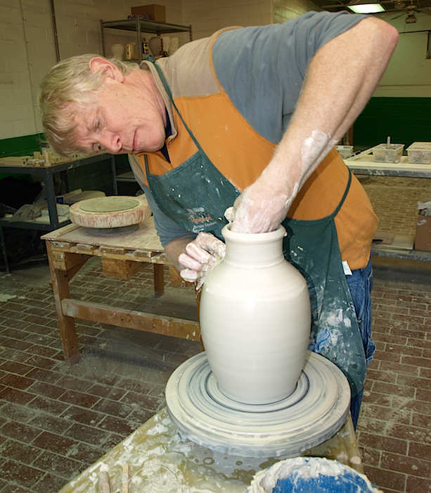 Though he's best known for the hundreds of glazes he's developed in his seven years at Rookwood, glaze chemist Jim Robinson also makes time to design vases and formulate recipes for clay bodies.