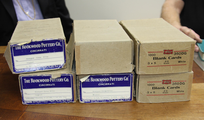Glaze chemist Jim Robinson routinely refers to the glaze recipes kept in these paperboard boxes from the early 1940s. Each is filled typed Rookwood glaze recipes from 1899 to 1940.
