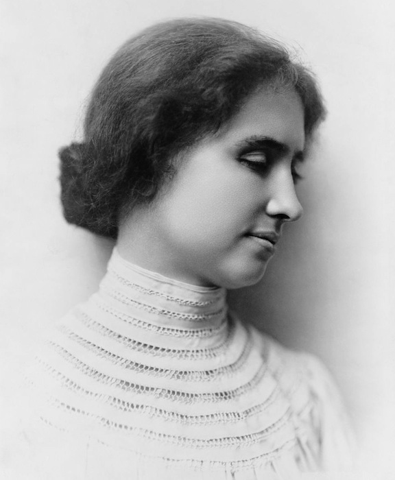 Helen Keller in 1904, the year she graduated from Radcliffe College. Keller could read both Braille and New York Point, and her strong advocacy for the former helped kill the latter.