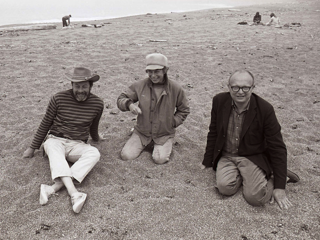"Top: ""Blindfold Walk,"" Kentfield, CA. Experiments in Environment Workshop, July 2, 1968. Above, left to right: Lawrence Halprin, Anna Halprin, and architect Charles Moore, July 4, 1966, at Sea Ranch, CA. (Both courtesy Lawrence Halprin Collection, The Architectural Archives, University of Pennsylvania.)"