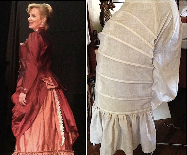"Left: Kristin Brownstone as Mrs. Kendal in a costume by Pat Tyler for ""The Elephant Man."" Right: The bustle itself, from a pattern by Truly Victorian."
