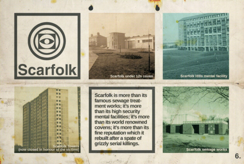 Top, the cover of a mock-Penguin book on children and hallucinogens. Above, a page from Scarfolk's tourism brochure.