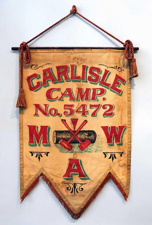 A Modern Woodmen of American parade banner, circa 1900. (Courtesy of the Webb Collection/University of Texas Press)