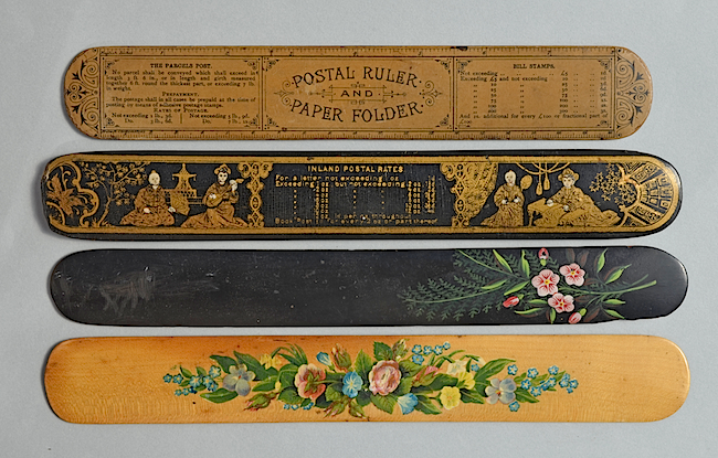 "Paper folders or ""creasers,"" as they were also known, were used to fold letters for envelopes, which is why they are often decorated with postal information. Unlike paper-knives and letter openers, paper folders were held along their top horizontal edges, so they needed to be wide but did not require handles."