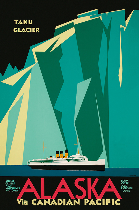Charles James Greenwood poster promoting cruises to Alaska, 1935.