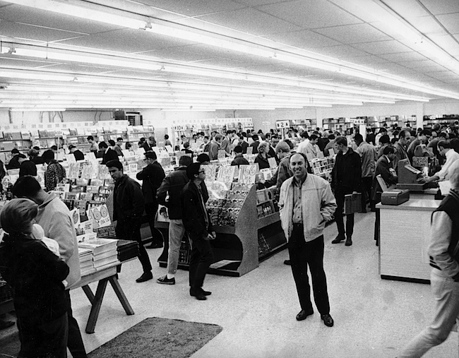 Top: Tower Records in San Francisco, just before its opening in 1968. Above: Tower owner Russ Solomon in his newly opened San Francisco store.