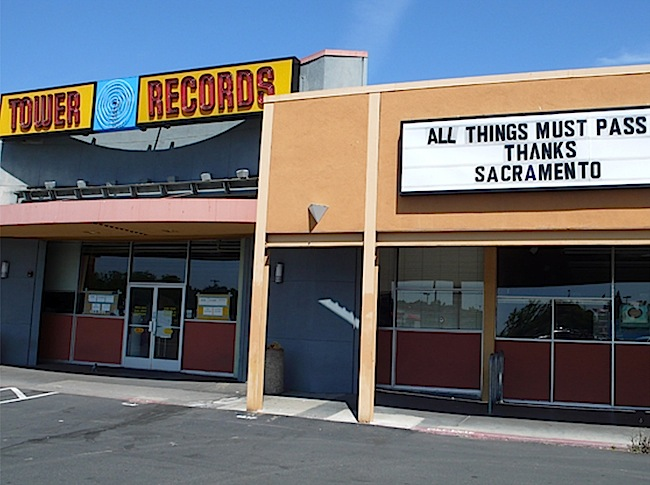 When Tower Records was finally liquidated in 2006, the staff at the chain's original Watt Avenue location put up this sign as a way of explaining and saying goodbye.