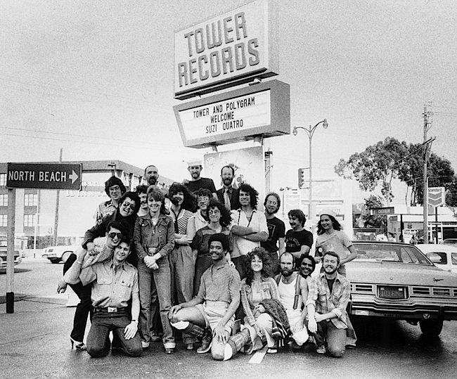 The Tower Records crew in San Francisco, 1975.