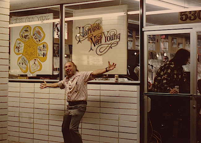 Russ Solomon at the Fresno, California, Tower Records in 1972. Using album art to market merchandise was always part of the Tower strategy.