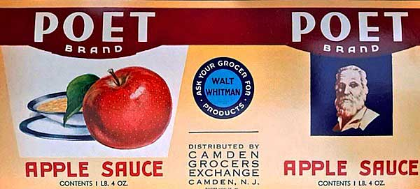 "Top: A tin cigar box offering the ""Poetic Comfort"" of Walt Whitman Cigars, produced by Barnes, Smith & Co. in Binghamton, New York. Above: A can label for Poet Brand apple sauce, sold at the Walt Whitman grocery chain in the 1930s. (Photos courtesy of Ed Centeno)"